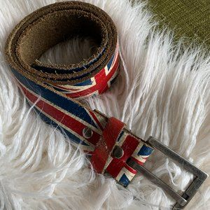 Leather Union Jack Rock & Roll Belt